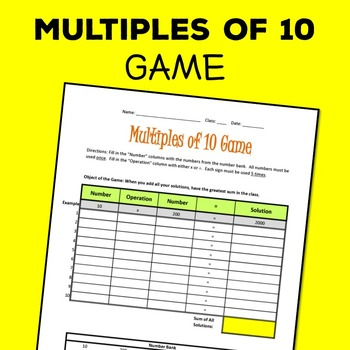 Multiples of 10 Game! Multiplying and Dividing, Free