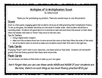 Multiples of 10 Multiplication Scoot