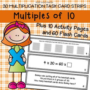 Multiples of 10 Task Card Strips, 60 Flash Cards & 10 Activity Pages