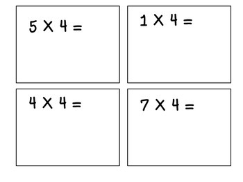 Multiples of 4-Multiplication Flashcards