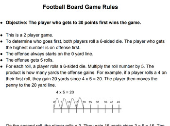 Multiples of 5 Dice Football Board Game