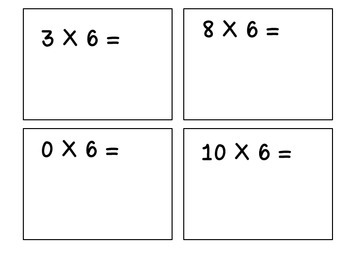 Multiples of 6-Multiplication Flashcards