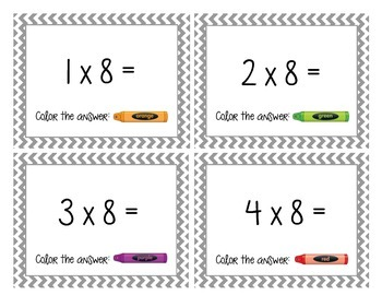 Multiples of 8 Cards and Worksheet