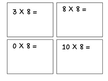 Multiples of 8-Multiplication Cards