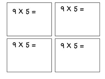 Multiples of 9-Multiplication Flashcards