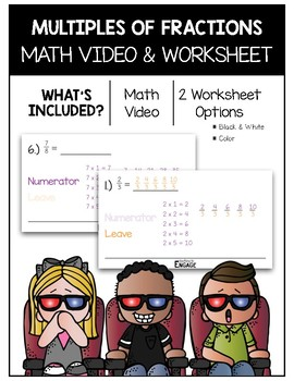 Multiples of Fractions Math Video and Worksheet
