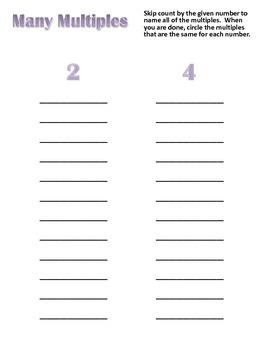 Multiples of Numbers Folder Center