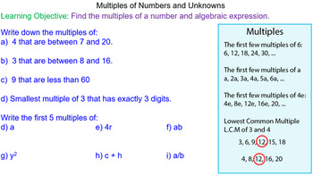 Multiples of Numbers and Expressions Grade 6 Math Lesson