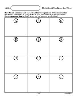 Multiples of Ten Math Center