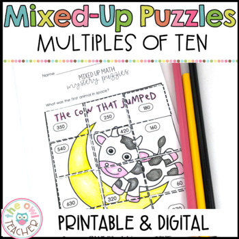 Multiples of Ten Mixed Up Math Puzzle