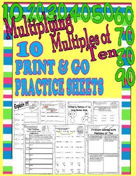 Multiplying by Multiples of Ten  Multiplication  Printables