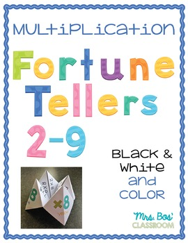 Multipliation Facts Fortune Tellers (Cootie Catchers) 2-9