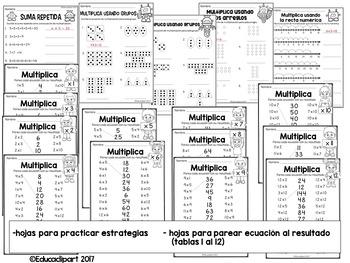 Multiplicación: hojas de práctica y casitas
