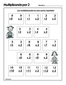 Multiplicando Por 2 - Spanish Multiplication Math Games/Lesson Plans
