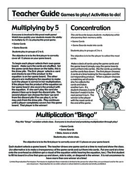 Multiplicando Por 5 - Spanish Multiplication Math Games/Lesson Plans