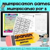 Multiplicando Por 8 - Spanish Multiplication Games - Easel