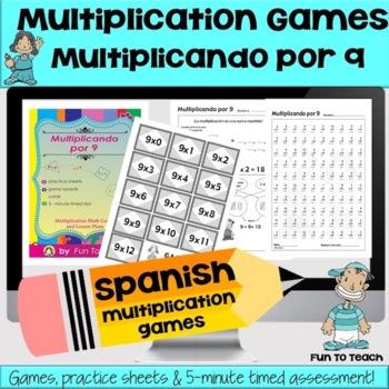 Multiplicando Por 9 - Spanish Multiplication Math Games/Lesson Plans
