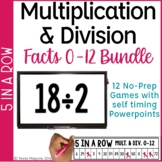 Multiplication & Division Fact Fluency 5 in a Row: 9 No Prep Games & Powerpoints
