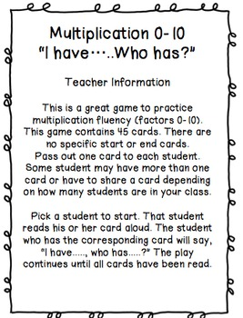"""Multiplication 0-10 """"I Have...Who Has?"""""""