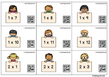 Multiplication 0-12 QR code cards