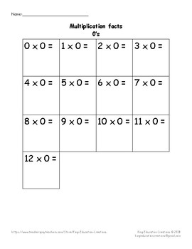 Multiplication  1 - 12