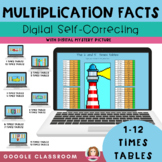 Multiplication Facts Practice 1-12 Self Grading Mystery Pi