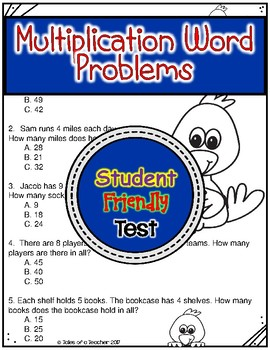 Multiplication (1-9) Word Problems Test