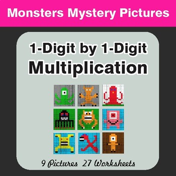 Multiplication: 1-Digit by 1-Digit - Math Color-By-Number Math Mystery Pictures