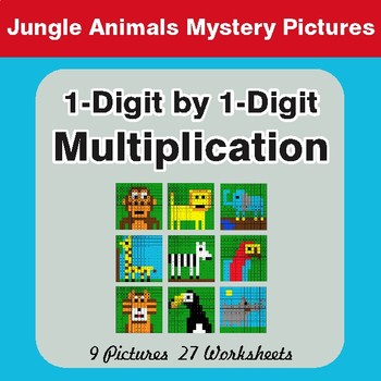 Multiplication: 1-Digit by 1-Digit - Color-By-Number Math Math Mystery Pictures