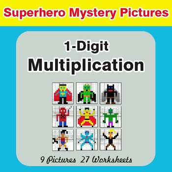Multiplication: 1-Digit by 1-Digit - Color-By-Number Superhero Math Mystery Pictures
