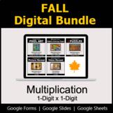 Multiplication 1-Digit by 1-Digit - Digital Fall Math Bundle