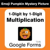 Multiplication 1-Digit by 1-Digit - EMOJI PUMPKIN Mystery