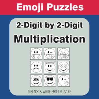 Multiplication: 2-Digit by 2-Digit - Emoji Picture Puzzles