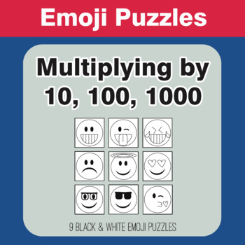 Multiplying by 10, 100, 1000: 1-Digit by 1-Digit - Emoji Picture Puzzles