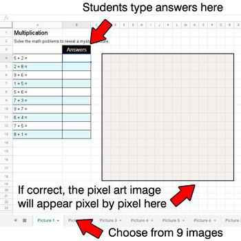 Multiplication 1-Digit by 1-Digit - Google Sheets Pixel Art - Animals