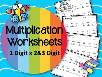 Multiplication.  1 Digit x 2 and 3 Digit Factors.  Worksheets. Math Centers