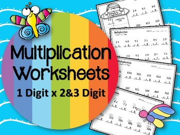 Multiplication.  1 Digit x 2 and 3 Digit Factors.  Worksheets. Math Centers