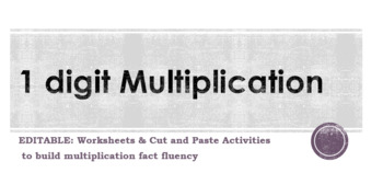 Multiplication 1 digit Activities and Worksheets