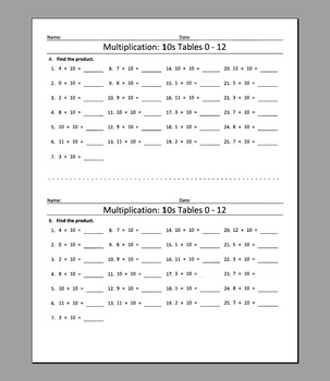 Multiplication: 10s Tables 0 - 12