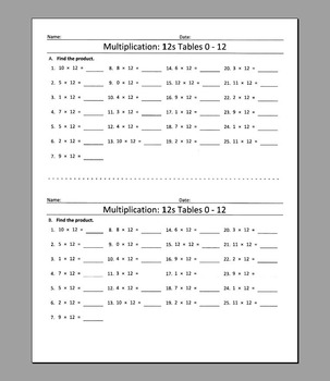 Multiplication: 12s Tables 0 - 12