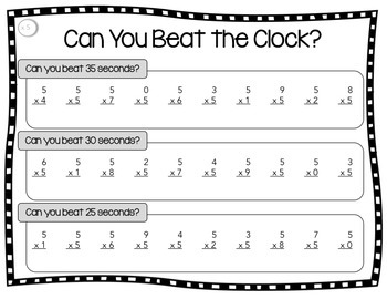 Multiplication Facts Practice - A Fun Activity for Multiplication Fact Fluency