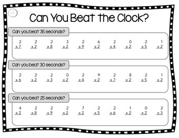 """Multiplication Facts Practice - A """"Beat the Clock"""" Activity for Fact Fluency"""