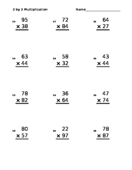Multiplication 2×2 Randomly Generated.     A new worksheet every time opened!