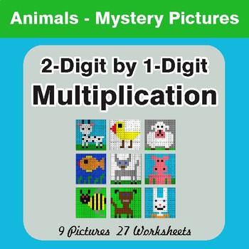 Multiplication: 2-Digit by 1-Digit - Color-By-Number Myste