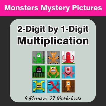 Multiplication: 2-Digit by 1-Digit - Color-By-Number Myste