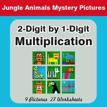 Multiplication: 2-Digit by 1-Digit - Color-By-Number Mystery Pictures
