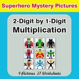 Multiplication: 2-Digit by 1-Digit - Color-By-Number Superhero Mystery Pictures