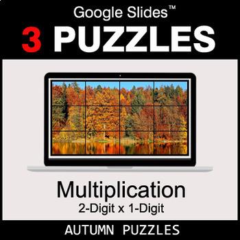 Multiplication 2-Digit by 1-Digit - Google Slides - Autumn Puzzles