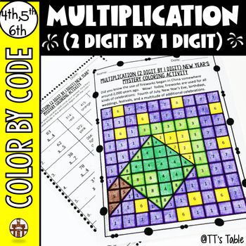 Multiplication (2 Digit by 1 Digit) New Year's Mystery Coloring Activity