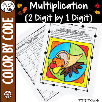Multiplication (2 Digit by 1 Digit) Thanksgiving Quilt Coloring Activity